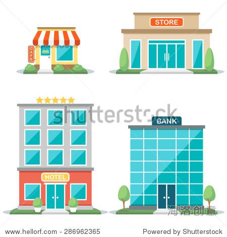 矢量图的不同类型的建筑:咖啡馆