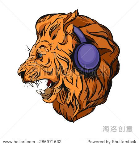 狮子戴着耳机听音乐.标志设计
