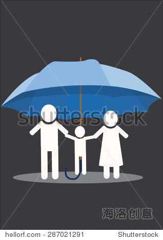 家庭在伞下,家庭保险的概念.矢量图
