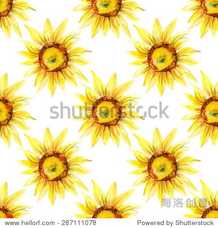 水彩无缝模式与向日葵.手绘插图