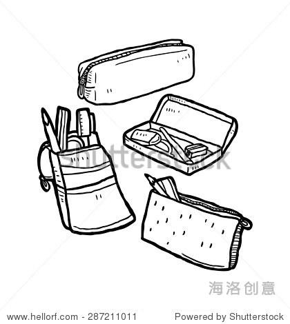书包笔盒写生线描-手绘文具盒 教育,物体 站酷海洛创意正版图片,