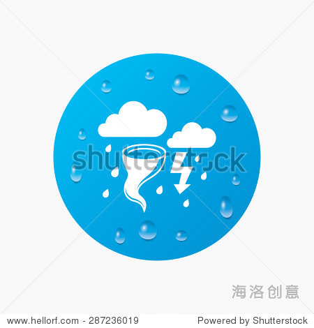 按钮 暴雨恶劣天气符号图标 云与雷暴 盖尔飓风的象征 从风的破坏和