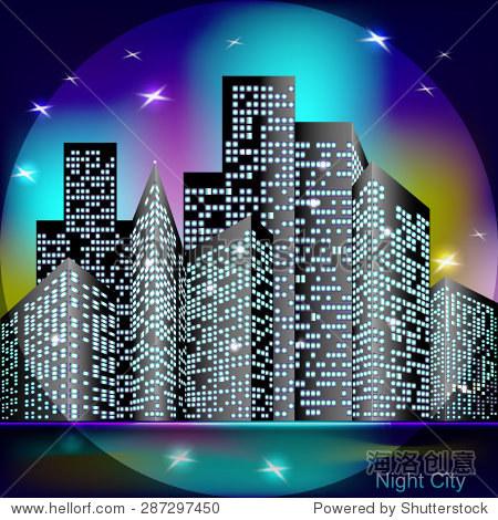 夜晚城市天际线的恒星,矢量插图