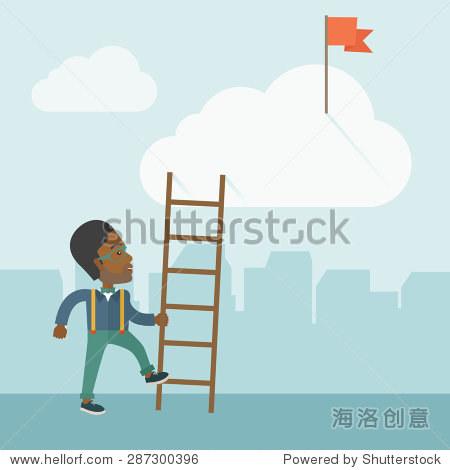 一个非洲男人站在持有职业阶梯的红旗在云中 职业生涯中,成功的概念 现代风格与柔和的调色板浅蓝有色背景 商业 金融,符号 标志 站酷海洛创意正版图片,视频
