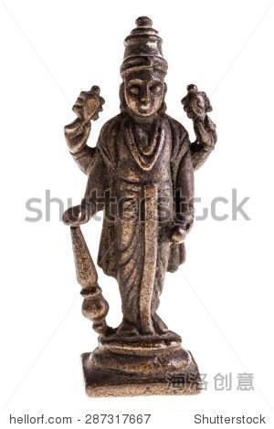 一个古老的印度神雕像孤立在白色背景