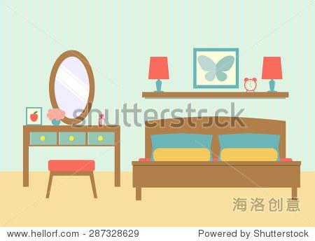 平的卧室梳妆台.矢量图