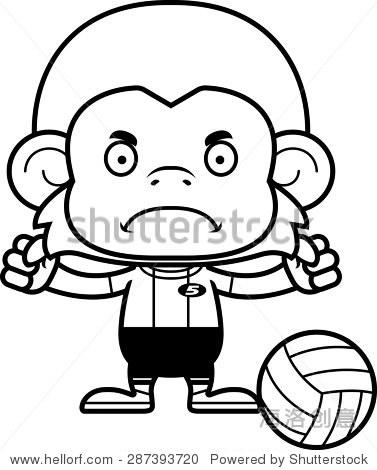 一个卡通排球运动员猴子看起来很生气. - 动物/野生