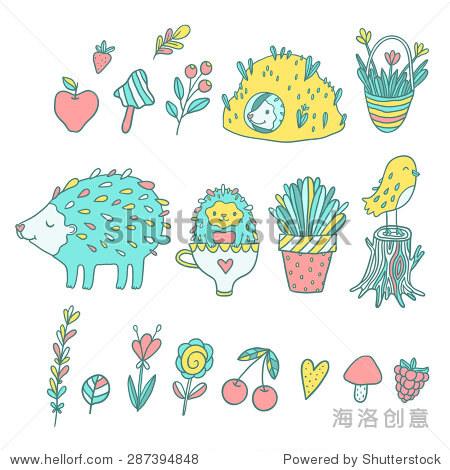 可爱的卡通手绘刺猬和鲜花.茶杯,樱桃浆果,蘑菇,苹果