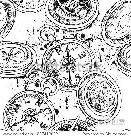 无缝模式描述的指南针.向量黑白插图.