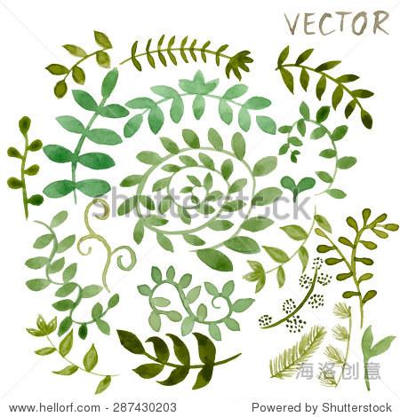 集各种绿色水彩手绘不同形状的叶子和树枝生态设计 矢量插图EPS10 艺术,背景 素材 海洛创意正版图片,视频,音乐素材交易平台 Shutterstock中国独家合作伙伴 站酷旗下品牌