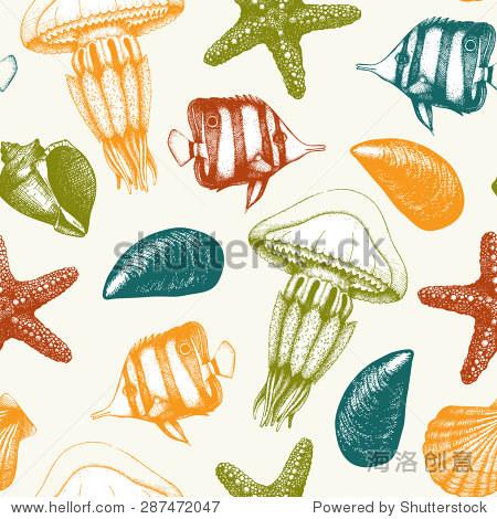 向量无缝模式与手绘小鱼,贝壳,海星和水母草图.复古与