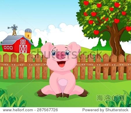 卡通可爱的宝贝猪在农场