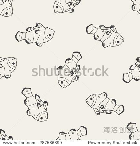 小丑鱼涂鸦无缝模式的背景