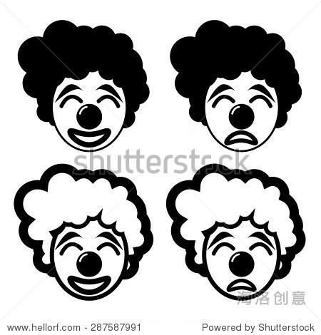 快乐和悲伤的小丑在轮廓和线性图标风格-人物,符号