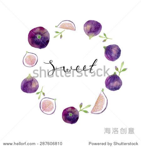水彩手绘花环的树叶和无花果.水彩和注册婚礼邀请.花的框架.