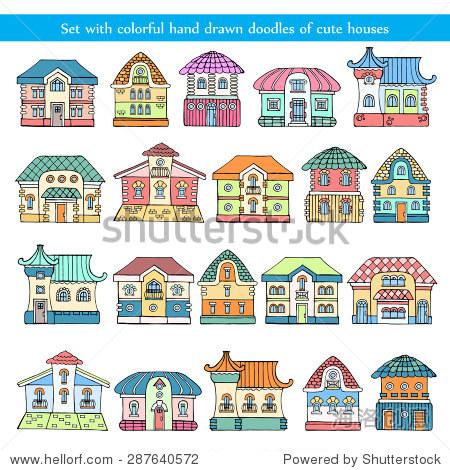 向量组与手绘涂鸦可爱的彩色的房屋和建筑物在白色