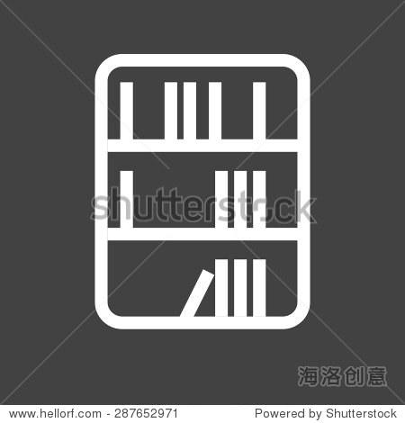 图书馆,书,书柜图标矢量图.还可以用于教育,学术和科学.