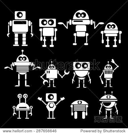 平面设计风格机器人和半机械人 机器人图标集合 背景 素材,抽象 站
