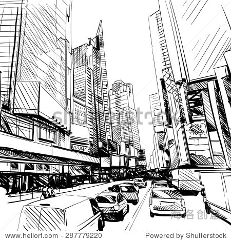 城市手绘,矢量图