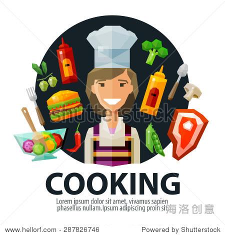 烹饪矢量标志设计模板.新鲜食物,厨房和厨师,厨师图标