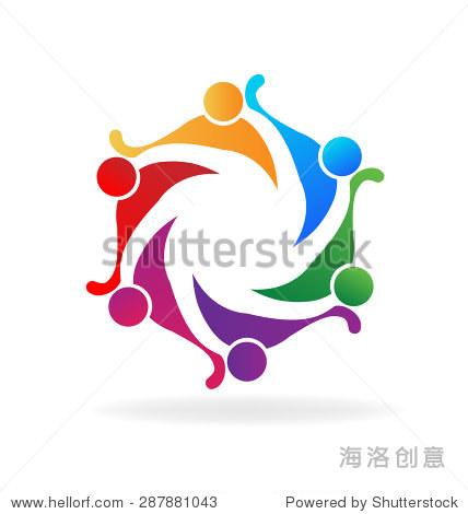 向量团队友谊的标志的概念,社区,工人,团结人,社交媒体网络图标图像模