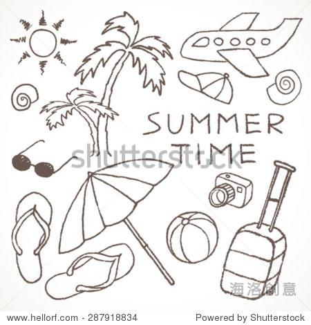 夏天用铅笔草图手绘.矢量图