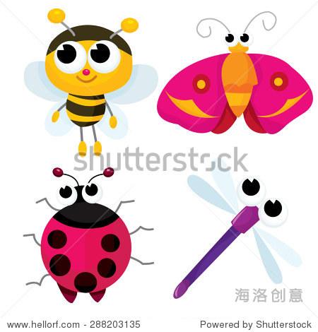 非常可爱的卡通小虫子就像蜜蜂,蜻蜓,蛾和瓢虫矢量插图.