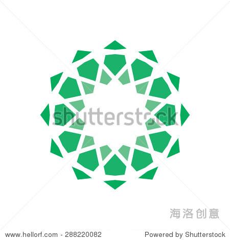 几何标志设计模板,抽象符号,绿星形状,线条.
