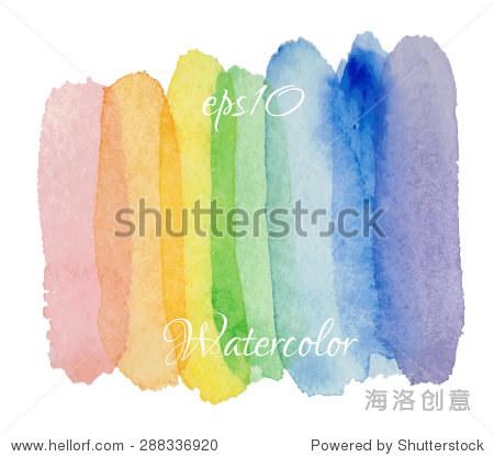 抽象的手绘水彩背景.矢量结构元素.彩虹水彩