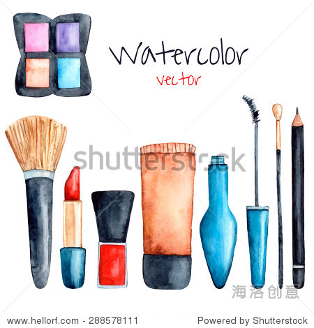 Watercolor set of cosmetics objects. Vector collection for make up: foundation, lipstick, eye shadows, brushes, mascara, eyebrow pencil. Isolated beauty elements for your design