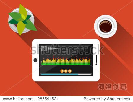 音乐播放器插图.平面设计与长长的阴影.