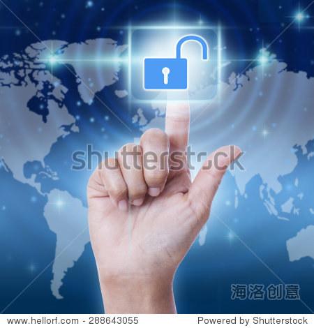 手按虚拟屏幕解锁图标按钮.经营理念