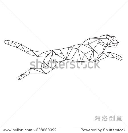 猎豹程式化的三角形多边形模型-动物/野生生物