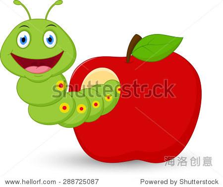 可爱的虫子卡通的苹果 - 动物/野生生物 - 站酷海洛