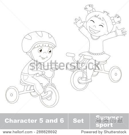 两个小男孩和女孩骑自行车.夏季户外儿童游戏.孩子们夏天的运动.