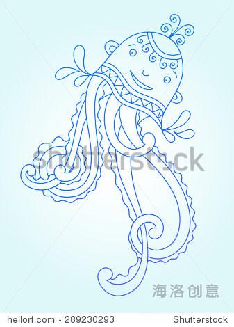 蓝线画的海怪,水下装饰美杜莎,打印或web图形设计元素,矢量插图eps10