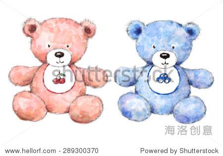 水彩婴儿泰迪熊浅蓝色和粉红色的男孩和女孩育婴室手绘插图孤立在白色