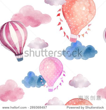 球和云 手绘与热气球复古拼贴画插图,国旗花环,文摘淡云 向量壁纸