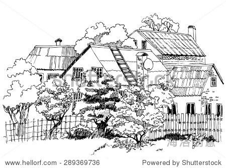 农村景观手绘草图