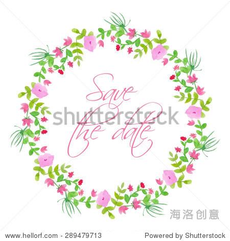水彩花卉向量花环.手绘插图与课本.孤立.婚礼的花环.保存日期.