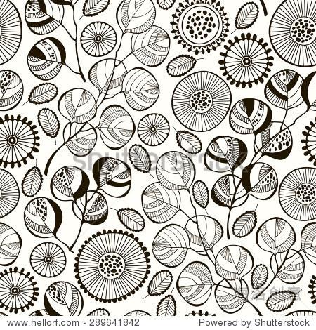无缝模式与抽象的树枝和花.黑白手绘花卉背景.
