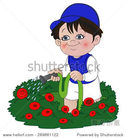 矢量图的小女孩与软管在花园浇花.