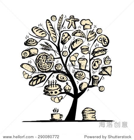 面包店树为你的设计概念.矢量图-食品及饮料,自然-,,.