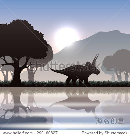三角龙恐龙轮廓与湖山风景区景观大树矢量插图