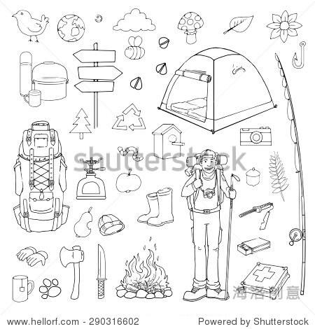 手绘旅游,徒步旅行,野营的物品,黑色和白色的矢量插图