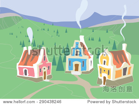 village house early in the morning. illustration
