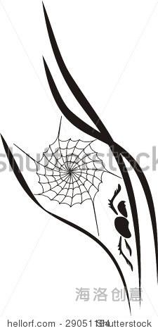 黑色和白色矢量设计的小蜘蛛,web和树叶