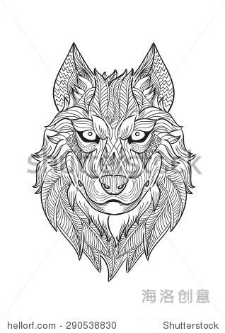 狼在zentangle风格的手绘