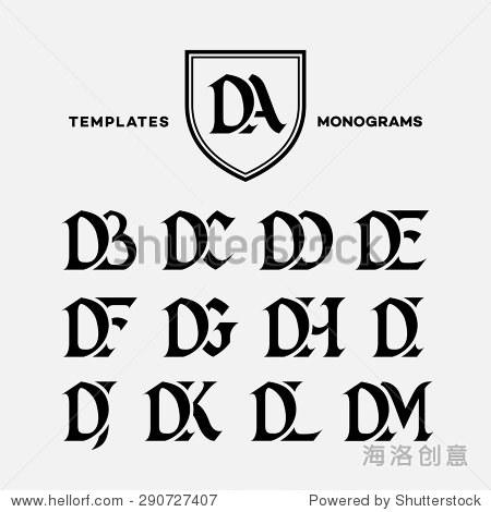 大写字母的字母组合设计模板组合da db直流dd de df dg dh di dj dk
