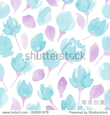 可爱的水彩花卉无缝矢量模式.花卉图案设计